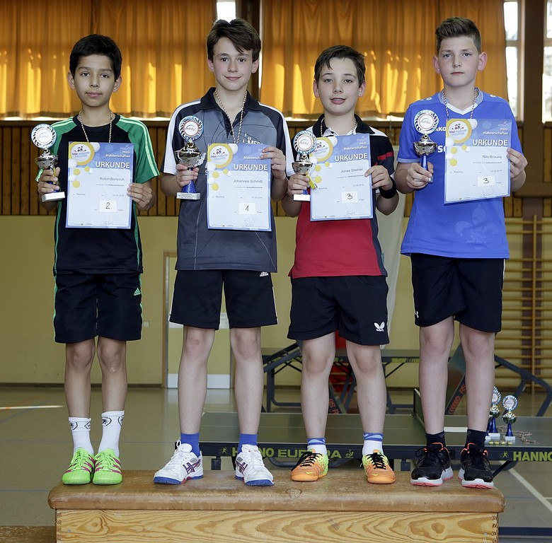 Siegerehrung der AK1 Jungen (v.l.): Robin Bielsch, Johannes Schmitt, Jonas Stiehler, Nils Braune