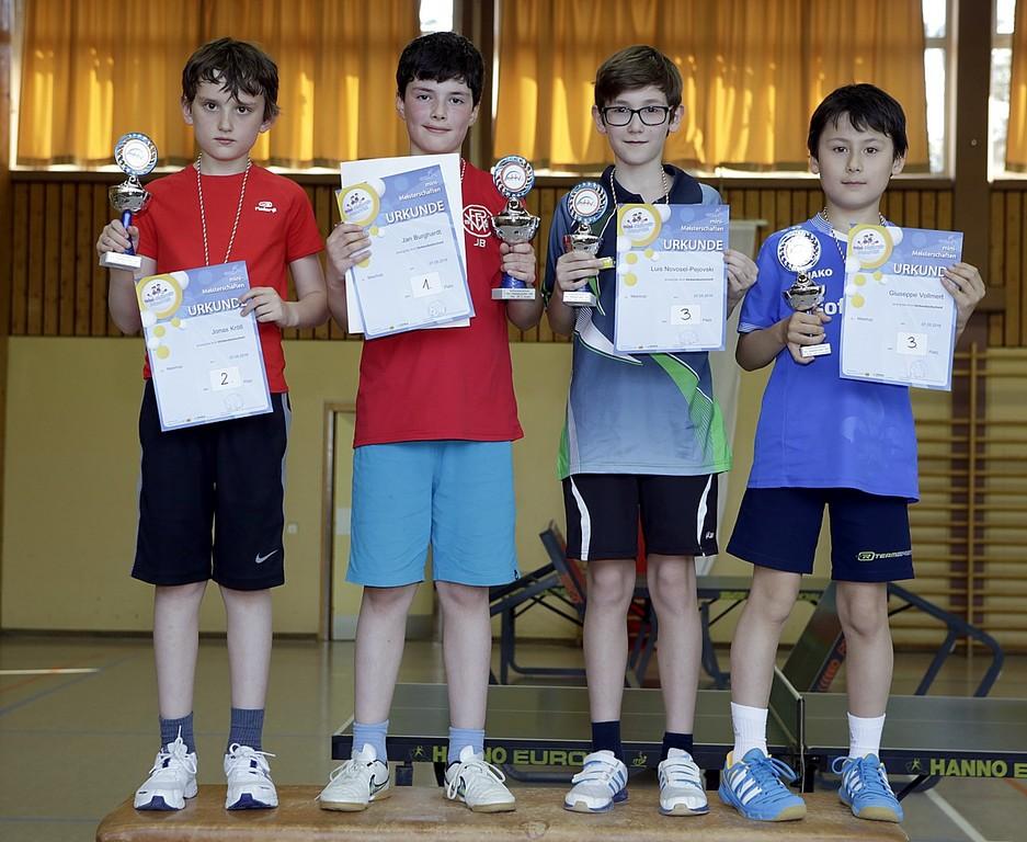 Siegerehrung der AK2 Jungen (v.l.): Jonas Kröll, Jan Burghardt, Luis Novosel-Pejovski, Giuseppe Vollmert